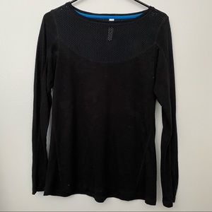 Black Long Sleeve TShirt Cotton Top w Mesh Detail